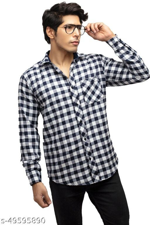 INDIAN THREADS Cotton Men's Check Shirt Regular Fit Casual Chex Shirt for Mens | Latest Full Sleeves Party Shirts for Men