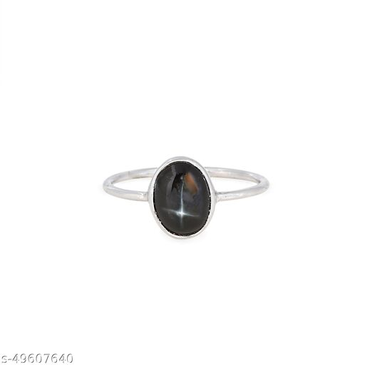 Ratnavali Arts Natural Black Star Gemstone Ring  in 92.5 Sterling Silver For Girl & Woman Fashion Jewellery