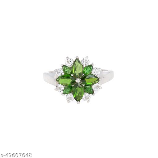 Ratnavali Arts Natural Diopside with CZ Gemstone Ring  in 92.5 Sterling Silver For Girl & Woman Fashion Jewellery