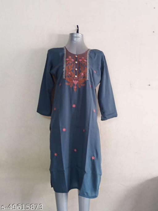 Beautiful embroidered kurti(Gray Blue)
