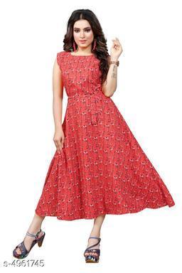Women's Printed Coral Crepe Dress