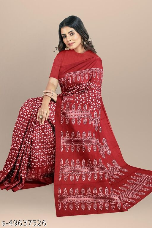 NEW PURE COTTON MULMUL HAND BLOCK PRINTED SAREE WITH BLOUSE