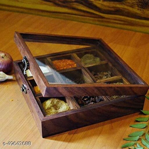 Soul Light Art Spice Box with Spoon in Shesham Wood for Kitchen Indian 9 Container with Lid Decorative Masala Dabba Organizer Handmade/Storage Racks Jars