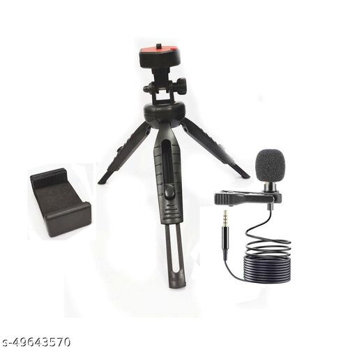 Bypor Quality M2 Stand Mobile Phone & Camera Stand Holder Tripod Kit with Collar Microphone Kit with Voice Recording Filter Mic for Recording Singing YouTube Tripod, Monopod Kit, Tripod Kit, Monopod
