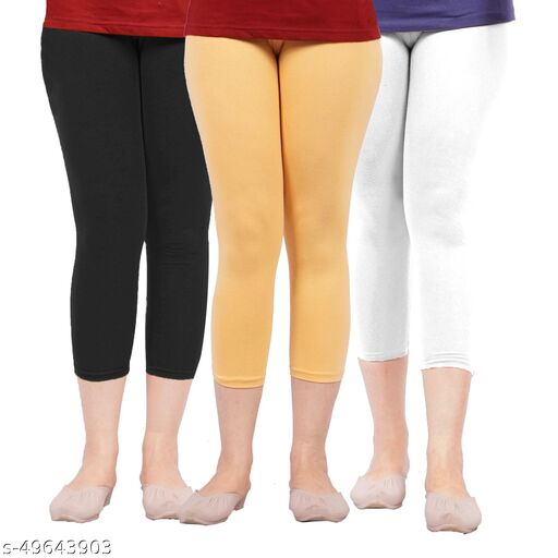 Reckon Choice 3/4 cotton 4way lycra stretchable Capri  Packof03_Black _White _Beige _C3