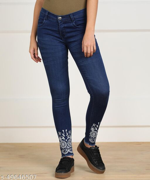 WOMEN'S BLUE EMBROIDERED SLIM FIT JEANS