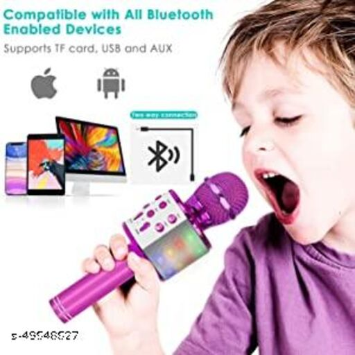 less Karaoke Mic Rechargeable Microphone|Bluetooth Singing Microphone With Audio Recording and Bluetooth Speaker|(Pink)