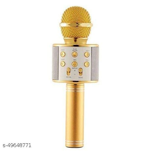 less Karaoke Mic Rechargeable Microphone|Bluetooth Singing Microphone With Audio Recording and Bluetooth Speaker|(Gold)