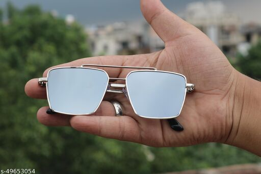 Retro Square Aviator Sunglasses Premium Glass Lens Flat Metal Sun Glasses Men Women