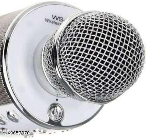 less Karaoke Mic Rechargeable Microphone|Bluetooth Singing Microphone With Audio Recording and Bluetooth Speaker|(Silver)