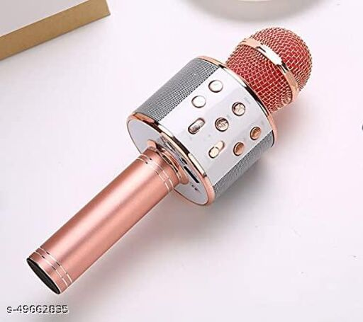less Karaoke Mic Rechargeable Microphone|Bluetooth Singing Microphone With Audio Recording and Bluetooth Speaker|(Rosegold)