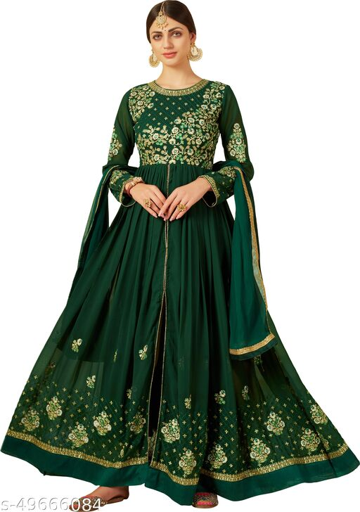 RJ FEBRIC Woman's Georgette Embroidered Anarkali  Gown