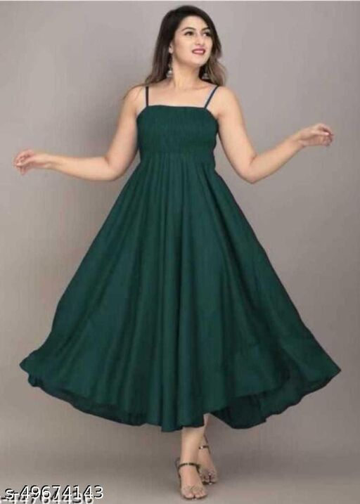 Rayon Western Sleeveless Green Gown
