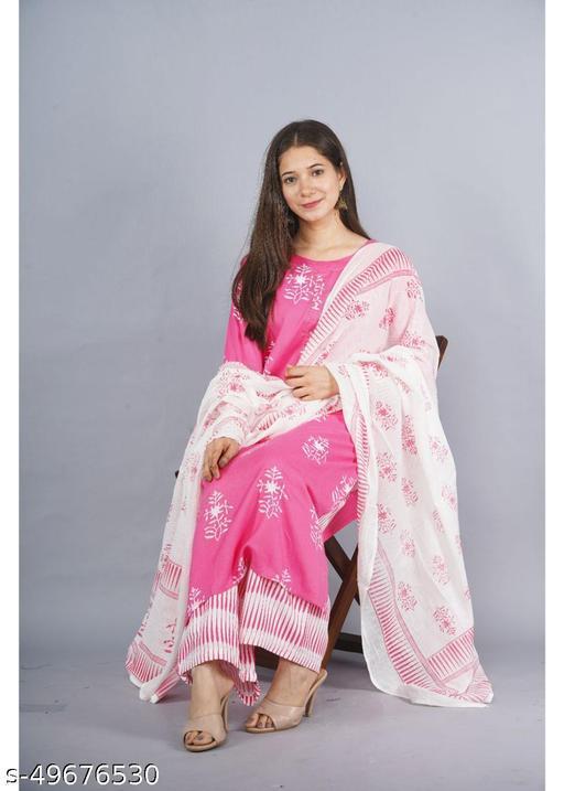 Women's Rayon Kurta and Palazzo Set - Pink
