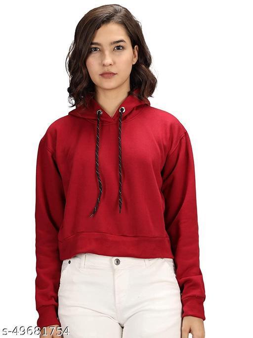 Narsingha Dreams Women's Cotton Crop Hooded Sweatshirt