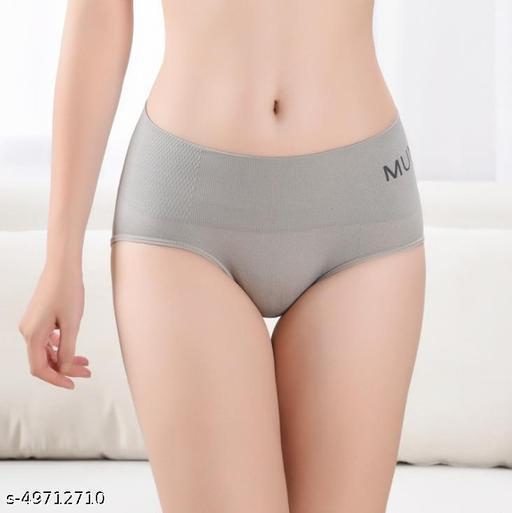 Women Boy Shorts Grey Cotton Blend Panty