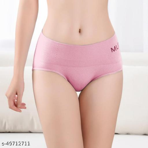 Women Boy Shorts Pink Cotton Blend Panty