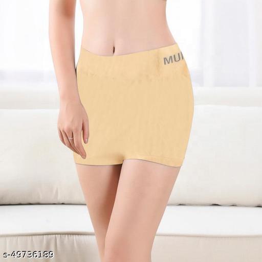 Women Boy Shorts Yellow Cotton Blend Panty
