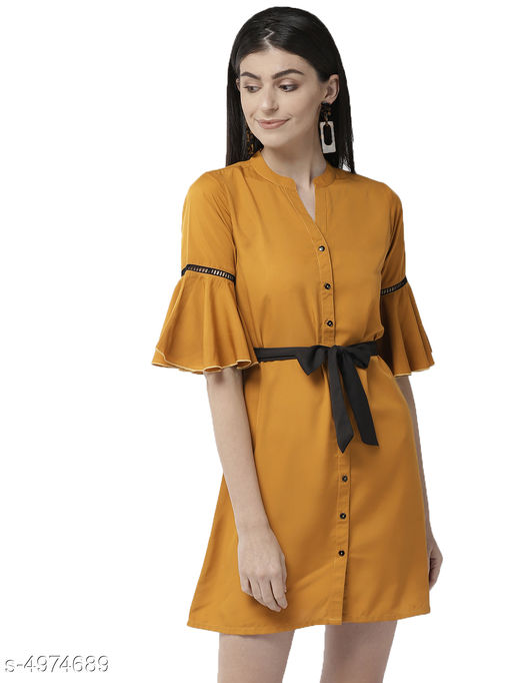 Women's Solid Mustard Polyester Dress