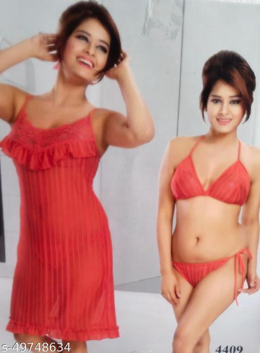 Women Orange Net Lingerie Set