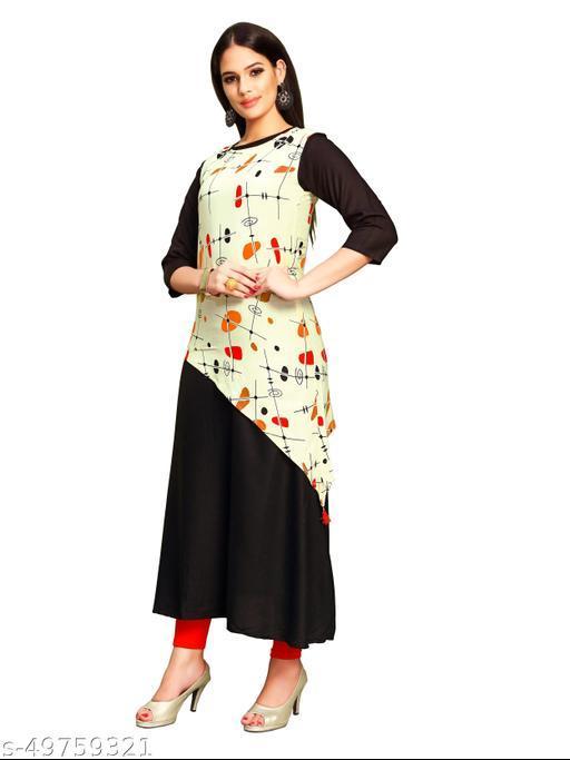 Women's Rayon  Printed Anarkali Kurti