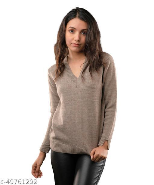 Fall For Her Woolen Oversized V-Neck Women Sweater