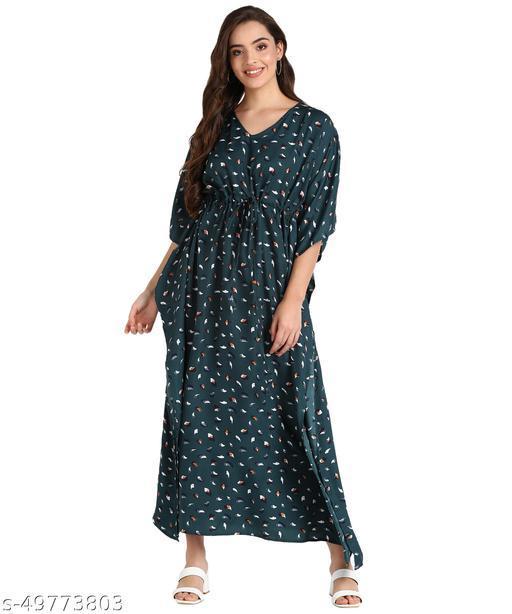 Serein Women's Kaftan dress ( Green printed crepe Kaftan Maxi with draw-string & V-neck)