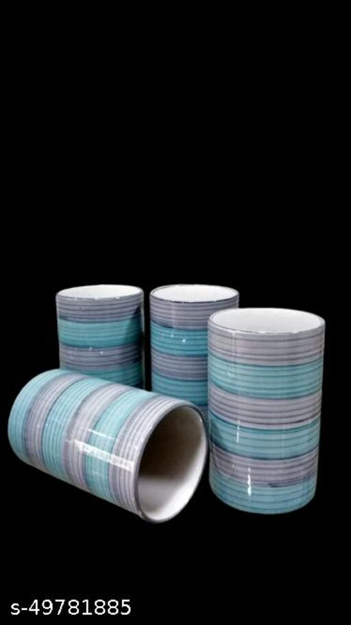 The DISCOUNT STORE ocean blue/gray  Colour Ceramic Glass (Set of 4) (300 ml, Ceramic)Water & Juice Glasses