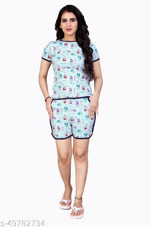 Comfy Queen Night Wear(T-Shirts & Shorts)(Size:-S,M,L)(Sometimes Color And Design Not Same As Photo)
