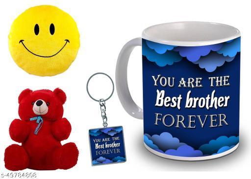 Anniversary & Birthday Treandy gift coffee mugs with Printed Keychain & Smile Or Teddy Bear for any special occasion. GURU JI MUG MKTS 88