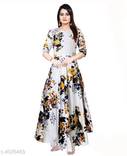 Women's Printed White Rayon Dress