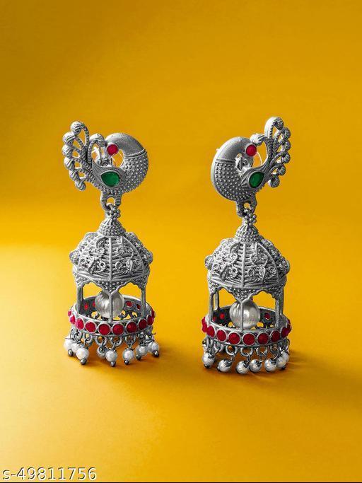 Diva Elite Matte Finished Oxidized Temple Women's Earrings & Studs