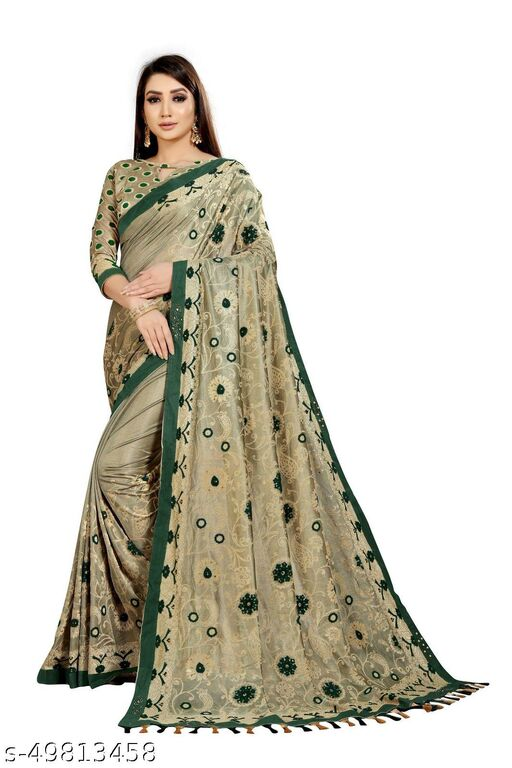 Women's Beige & Green Self Design Saree With Un-stitched Blouse Pieces