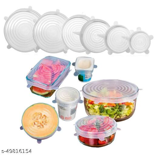 Microwave Safe Silicone Stretch Lids reuseable Flexible Covers for Rectangle, Round, Square Bowls, Dishes, Plates, Cans, Jars, Glassware and Mugs
