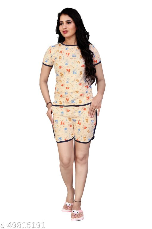 Comfy Queen Night Wear(T-Shirts & Shorts)(Size:-S,M,L)(Sometimes Color And Design Not Same As Photo)Nightsuits