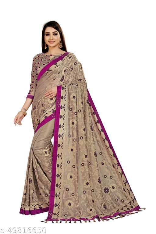 Women's Beige & Purple Self Design Saree With Un-stitched Blouse Pieces