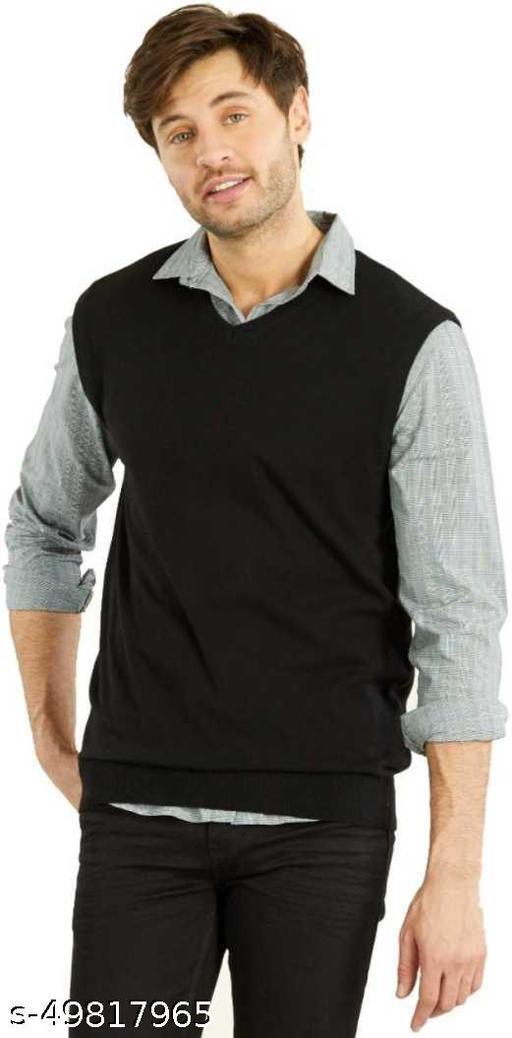 V Neck Formal Men Black Sweater