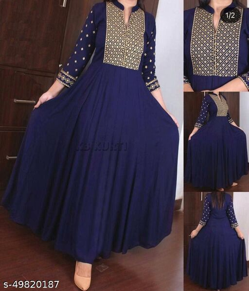 Women's Rayon Gown Embroidered Kurti