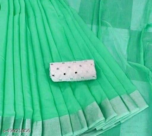 New womens chanderi silk saree with mirror work blouse