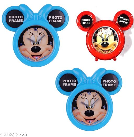 mickey mous photo fram with clock pack of 3