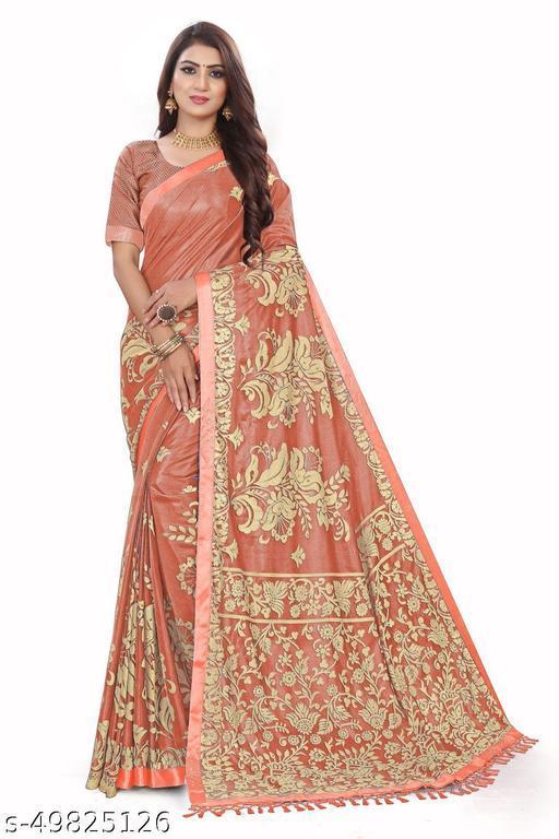 Women's Orange Self Design Saree With Un-stitched Blouse Pieces