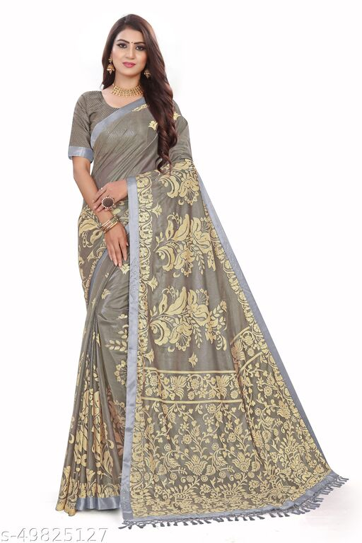 Women's Grey Self Design Saree With Un-stitched Blouse Pieces