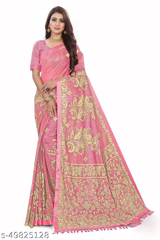 Women's Pink  Self Design Saree With Un-stitched Blouse Pieces
