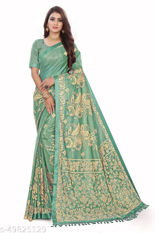 Women's Green Self Design Saree With Un-stitched Blouse Pieces