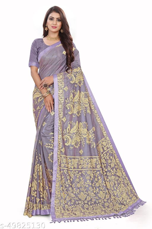 Women's Purple Self Design Saree With Un-stitched Blouse Pieces