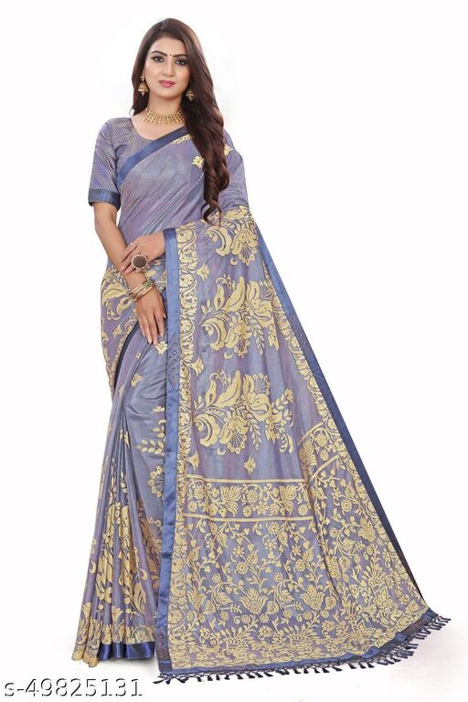 Women's Blue Self Design Saree With Un-stitched Blouse Pieces