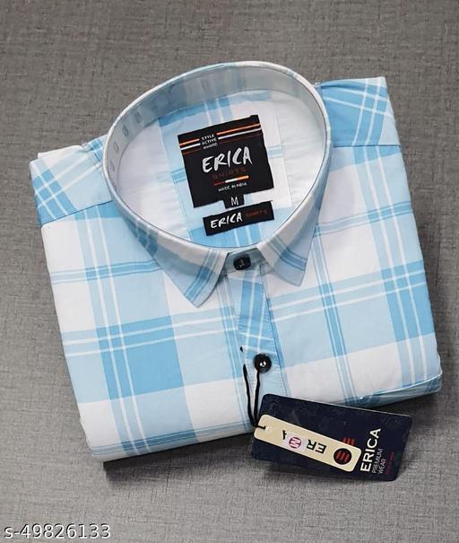 Trendy Premium Cotton Men's Full Sleeve Casual CHECKED Shirt - NAVI-BLUE