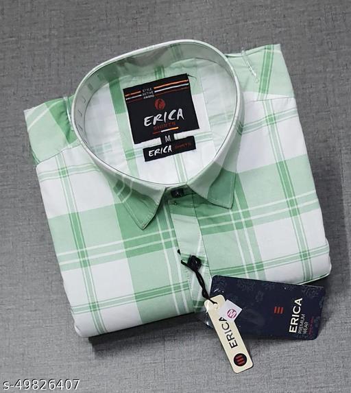 Trendy Premium Cotton Men's Full Sleeve Casual CHECKED Shirt - Green