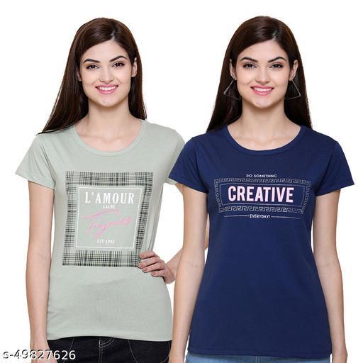 ROMZ Women Printed  Regular Fit Round Neck Half Sleeve Tshirt (Pack of 2)