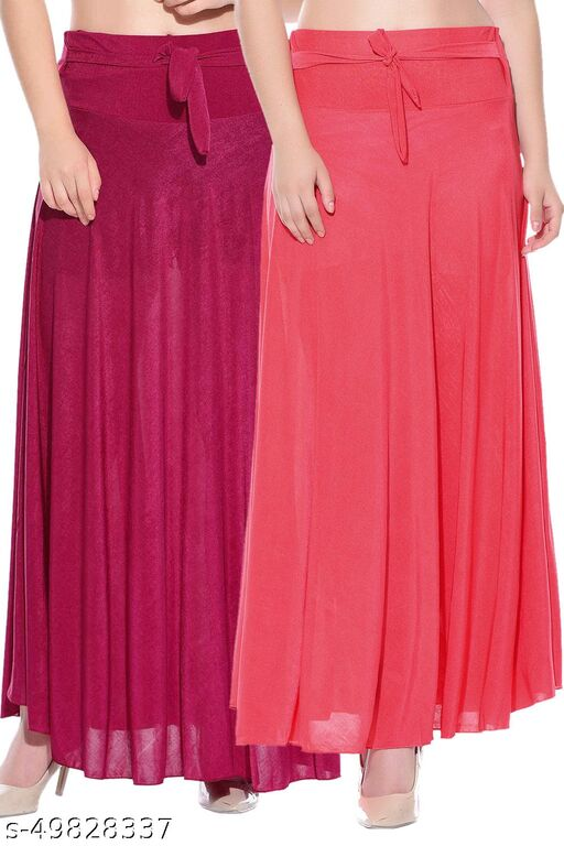 Dashy Club Combo of 2 Pcs Pink Red Solid Crepe Full Length Flared Skirts